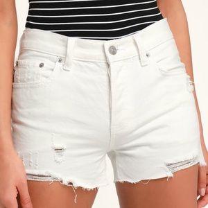 Free People Sofia White Distressed Shorts